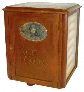 0720: Ace Comb counter display, revolving wood case w/d