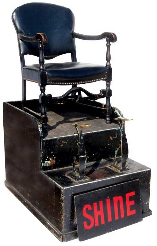 - 0721: Shoe Shine Chair, Wood Base W/brass Foot Rests, 1
