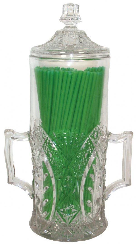 0785: Soda fountain 2-handled straw jar w/lid, Very Rar