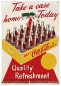 "0937: Coca-Cola metal sign, ""Take a case home Today"", c"