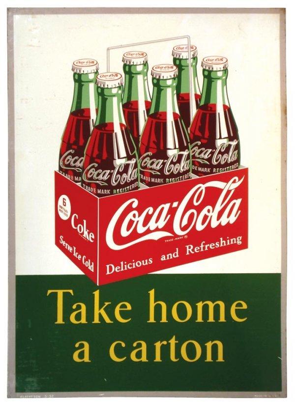 "0944: Coca-Cola metal sign, ""Take home a carton"", c.195"