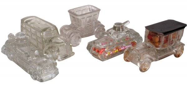 0004: Candy containers (5), Tank w/paper closure (Victo