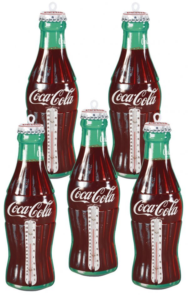 0006: Coca-Cola thermometers (5), bottle-shaped diecut