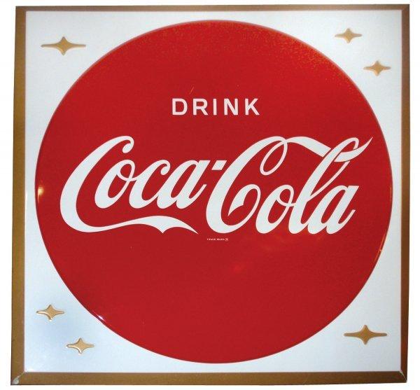 0008: Coca-Cola sign, self-framed metal sign w/Coca-Col
