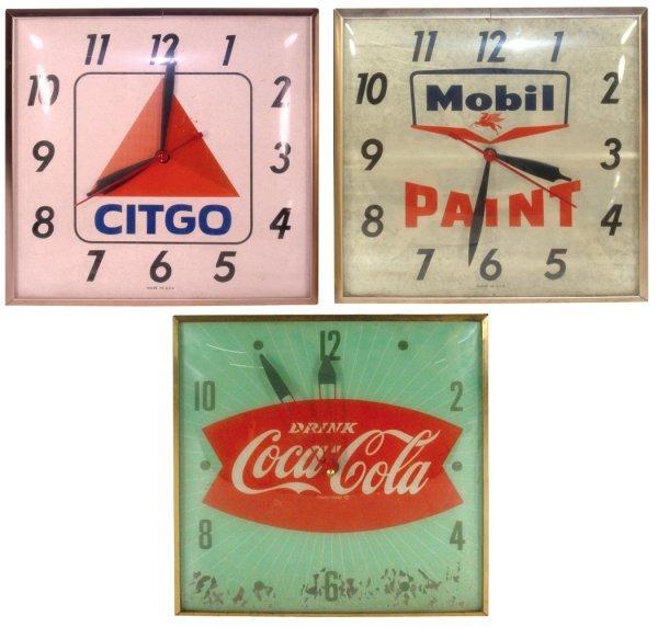 0010: Clocks (3), Coca-Cola Fishtail, Mobil Paint & Cit