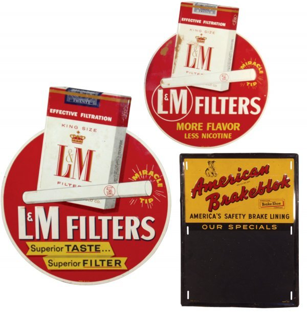 0014: Lot of 3 tin signs; L&M Filters Cigarettes, Made