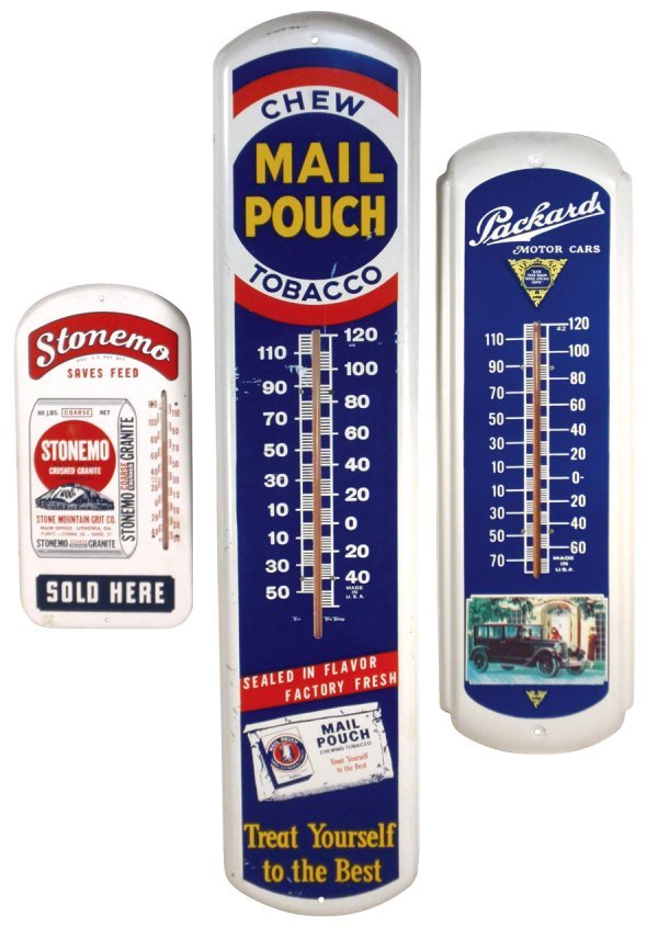 0015: Thermometers (3), Mail Pouch Tobacco, Packard Mot