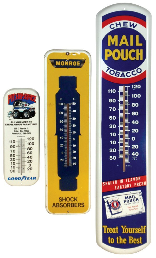 0017: Thermometers (3), Mail Pouch Tobacco, Monroe Shoc