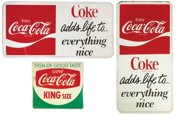 0018: Coca-Cola signs (3), all metal, two are self fram