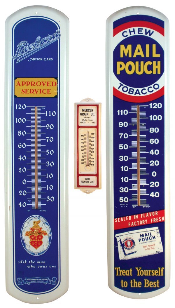 0019: Thermometers (3), Mail Pouch Tobacco, Packard Mot