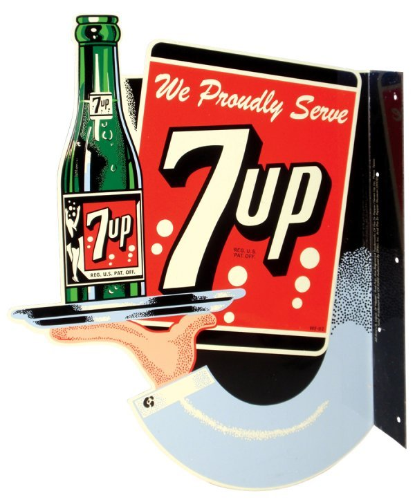 0020: 7-up sign, diecut metal 2-sided flange sign, 1 of