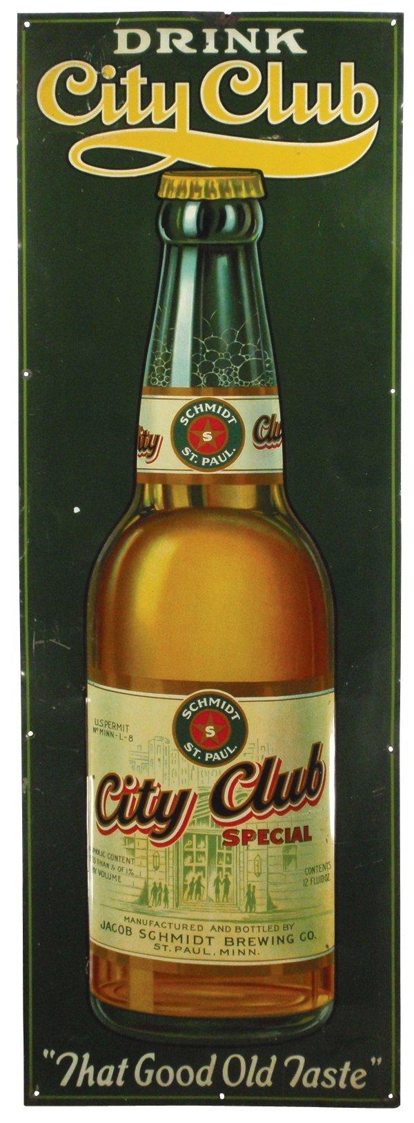 0021: Drink City Club Beer metal sign w/bottle graphics