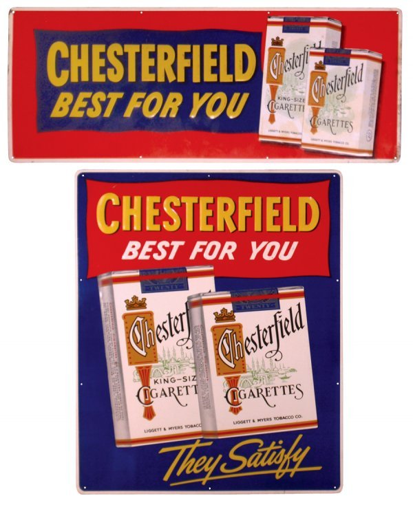 0023: Chesterfield Cigarettes signs (2), embossed metal
