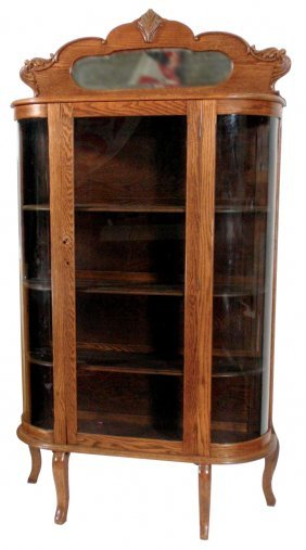China Cabinet, Oak W/curved Side Glass, Mirrored