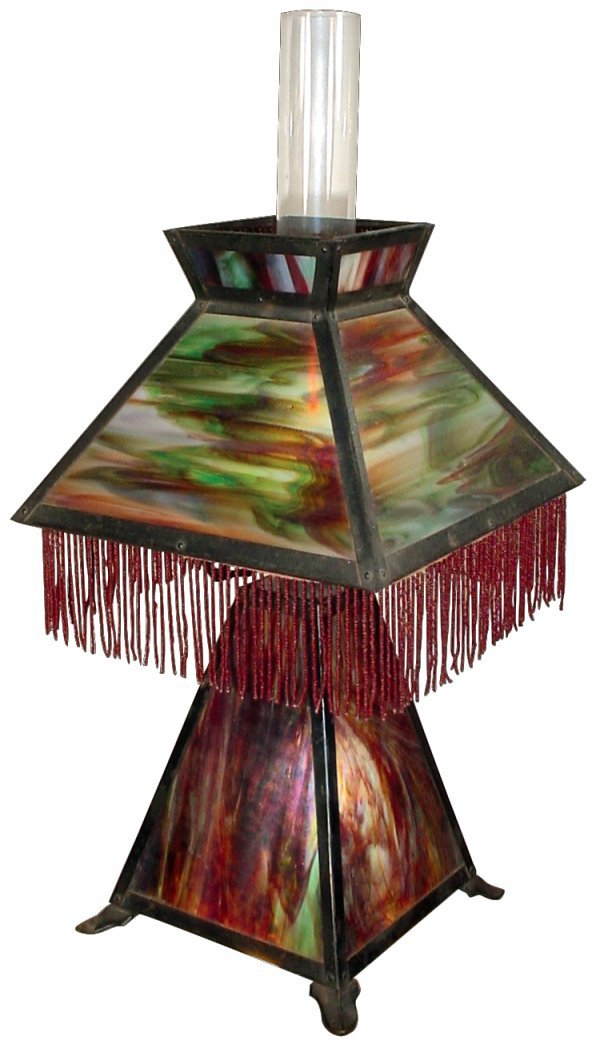 0097: Lamp, table, stained glass, matching fringed shad