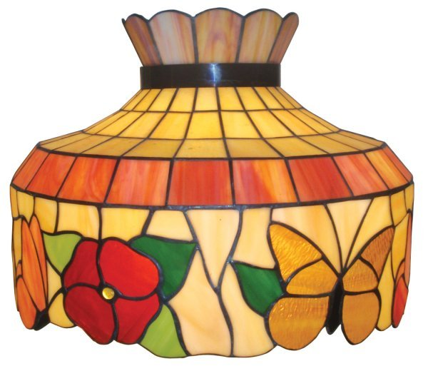 0100: Hanging lamp, stained glass, colorful shade w/but