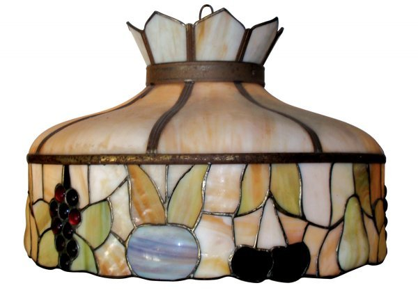 0102: Hanging lamp, stained glass, red, caramel & green