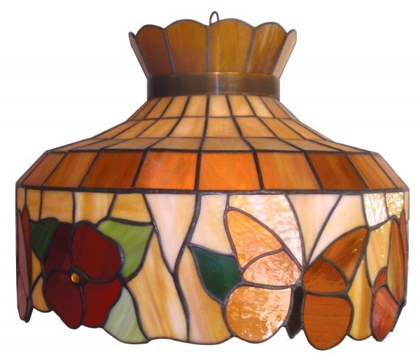 0106: Hanging lamp, stained glass, colorful shade w/but