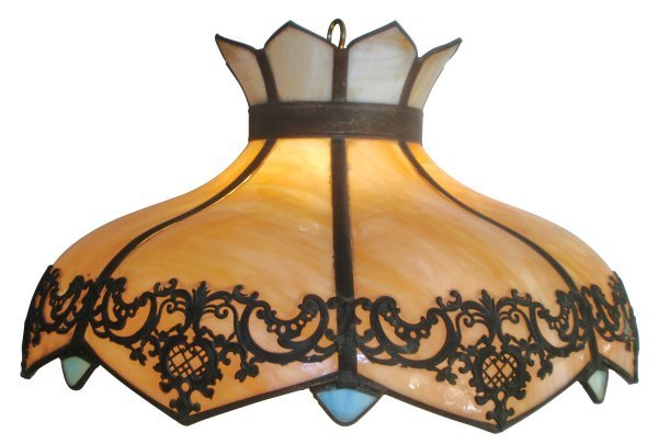 0108: Hanging lamp, stained glass, Victorian style w/8
