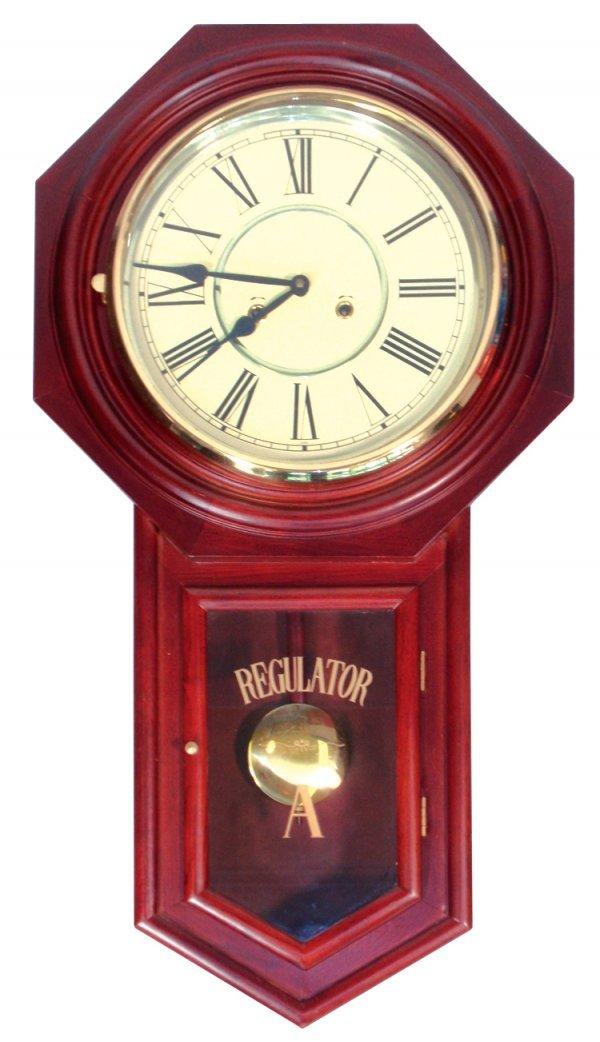 0109: Regulator wall clock, contemporary, mahogany, VG