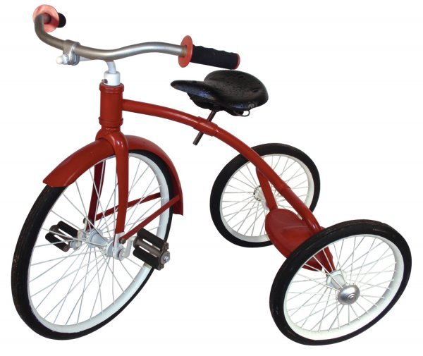 """0110: Tricycle, steel, red & white, Good orig cond, 30"""""""