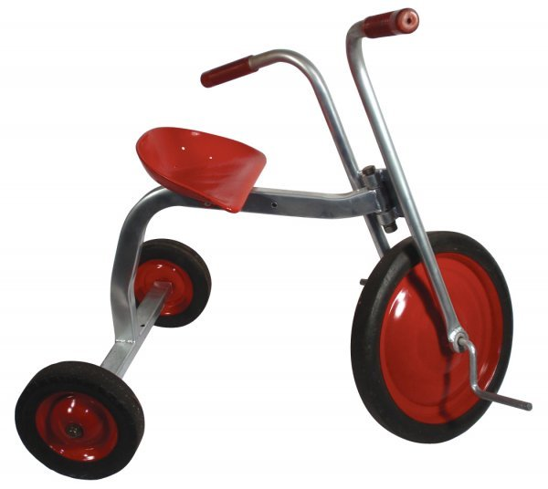 "0112: Tricycle, steel, red & grey, Exc orig cond, 25""H"