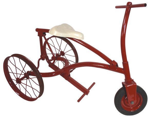 0113: Tricycle, steel, red & white, articulated seat, n