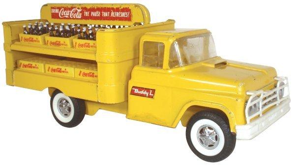 0119: Coca-Cola truck, Buddy L, pressed steel, yellow,