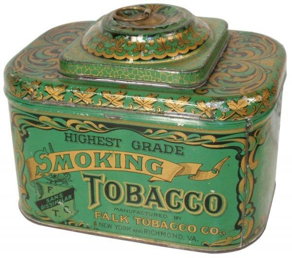 0168: Tobacco tin, Falk Tobacco Co.-NY & Richmond, VA,