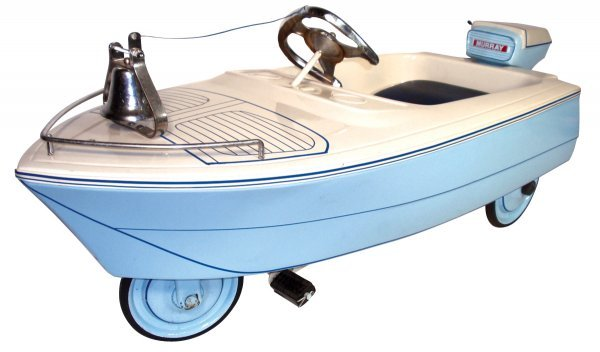 0211: Pedal car/boat, 1950's Murray Pedal Boat w/motor,