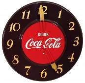 Coca-Cola clock, Drink Coca-Cola round metal elec