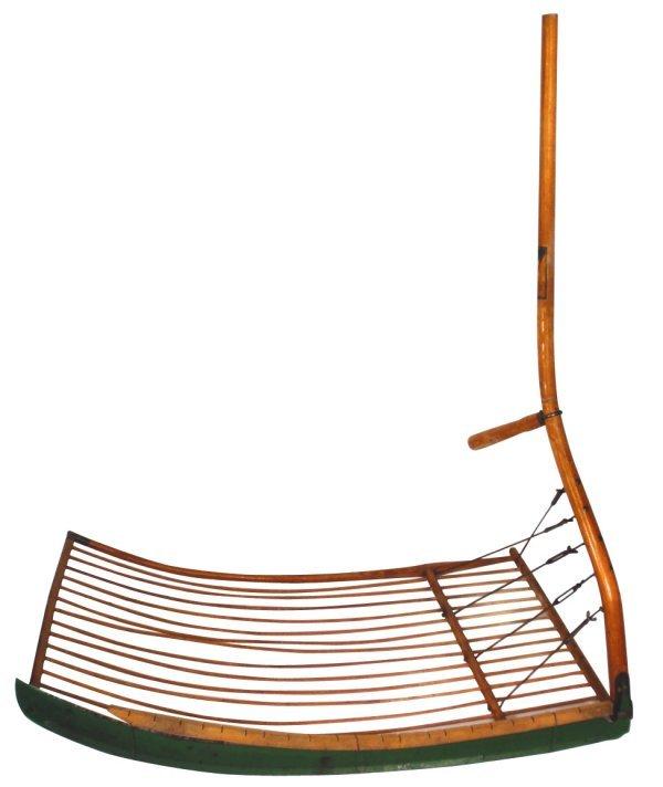 0298: Primitive grain cradle, mfgd by Seymour Mfg. Co.,