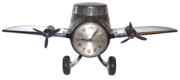 0319: Airplane clock, Sessions, Bakelite body w/chrome