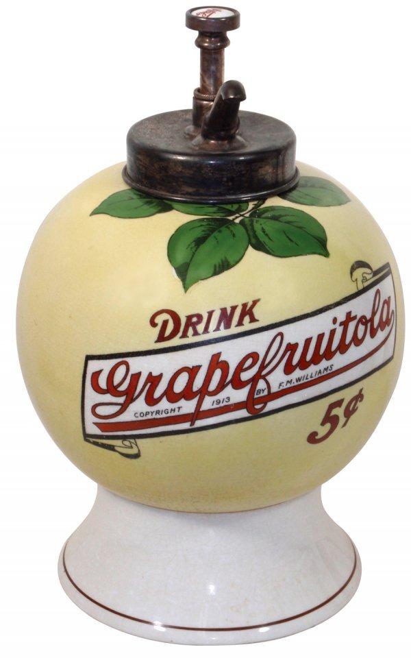 0386: Syrup dispenser, Grapefruitola, dated 1913, F.M.