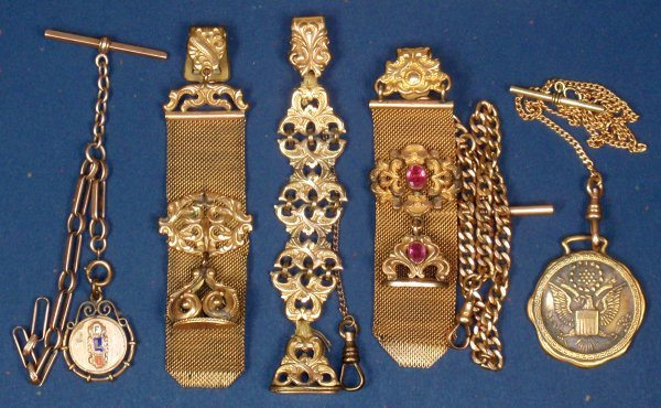 0605: Pocket watch chains & fobs (5), gold filled chain