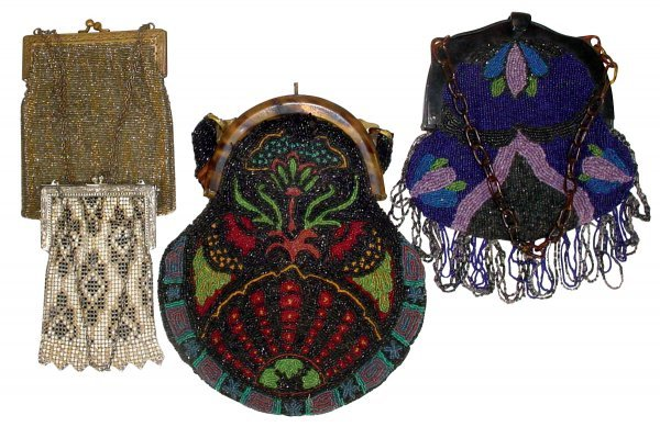 0623: Victorian beaded purses (4), Whiting & Davis stee