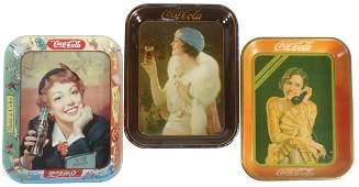 0905: Coca-Cola serving trays (3), c.1953 Menu Girl, c.