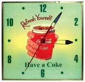 "0973: Coca-Cola clock, square light-up w/glass ""Drink C"