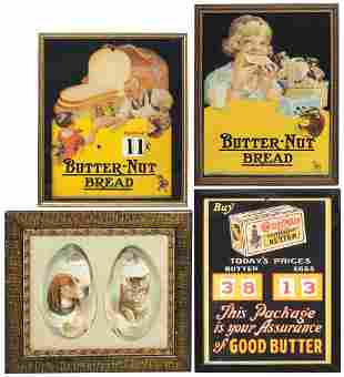 Advertising Signs (4), pair of Horsford's diecut trade