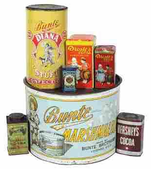 Advertising Tins (7), large Bunte Bros. Marshmallow,