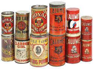 Advertising Baking Powder Containers (12), most are