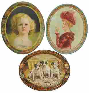 Advertising Trays (3), all oval litho on tin, young