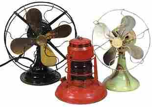 Fans & Lantern (3), Myers & Robbins brass blade table