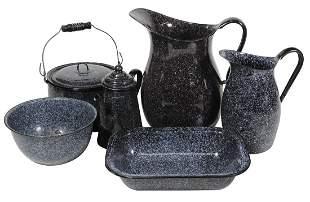Kitchenware Graniteware (6), all dark mulberry w/small