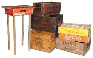 Wood Advertising Crates (7), Whistle, Cleo Cola, Sun