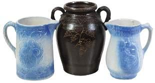 Stoneware Jar & Pitchers (3), Albany slip decorated
