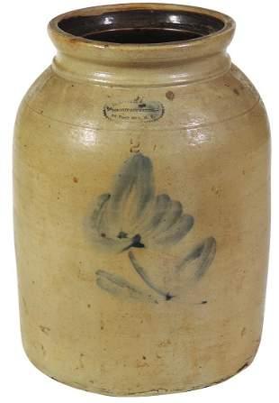 Stoneware Jar, A.E. Smith & Sons 2-Gal salt-glaze