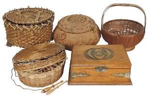 Sewing Baskets (5), 3 Victorian woven lidded baskets-2