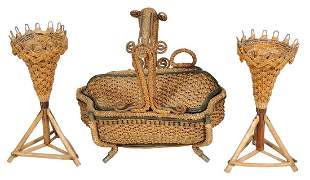 Sewing Items (3), fine Victorian woven sewing work