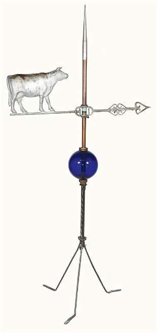 Weathervane w/Lightning Rod Ball, short copper rod